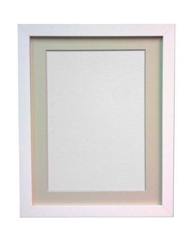 Frames by Post H7 - Marco para foto o lámina, blanco, 25 mm de ancho, con paspartú color marfil, tamaño DIN A4, para lámina tamaño 9 x 6 pulgadas