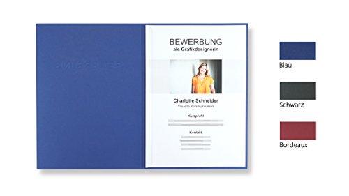 """8 Stück 2-teilige Bewerbungsmappen blau mit 1 Klemmschiene in feinster Lederstruktur // inkl. 8 Versandumschläge in weiß GRATIS // hochwertige Prägung """"BEWERBUNG"""" // direkt vom Hersteller STRATAG®"""