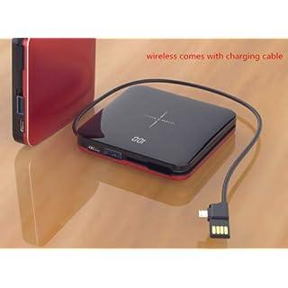 MeterMall Mini-Powerbank, kabellos, 10000 mAh, dünn, Spiegelbildschirm, 2,1 A, schnelles Aufladen rot