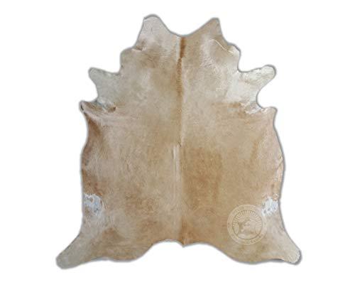 Teppich aus Kuhfell, Farbe: beige und weiß, Größe circa 210 x 150 cm, Premium - Qualität von Pieles del Sol aus Spanien