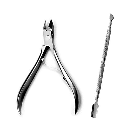 DEZIINE® Nail Cuticle Pusher Spoon&Clipper Set,2pcs Beauty Professional Steel Manicure Pedicure Trimmer Remover Nipper Scissor,Nail Tools.
