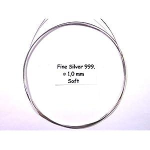 1,0 Millimeter Feinsilber 999,9 Silberdraht 1 Meter Lang Massiv Rund, Silver Pure, Weich