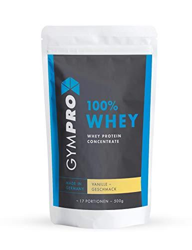 GymPro 100% Whey Protein Pulver zum Muskelaufbau und Abnehmen. Whey Protein Konzentrat Eiweiß mit Aminosäuren (BCAA) - Hergestellt in Deutschland (Vanille)
