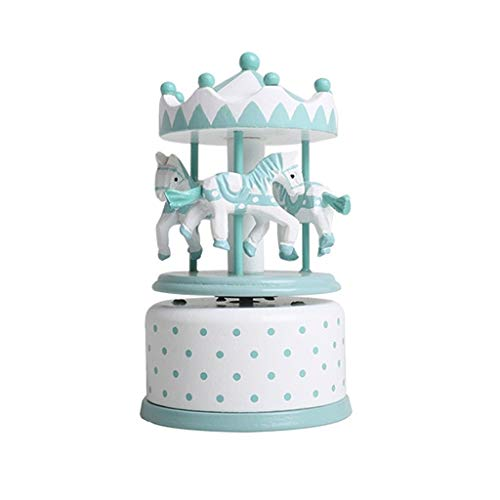 LILY-music box Manuelle Spieluhr Spieluhr, Karussell handgeschnitzt aus Holz dekorative Spieluhr Kindergeburtstag Guter Sound (Color : Green) -