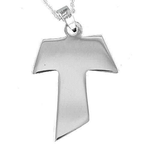 Kreuz Tau Anhänger in glänzendem Silber. Beinhaltet eine 40 Zentimeter lange Silberkette und eine Geschenkverpackung. Sterling Silber Schmuck von Alylosilver.