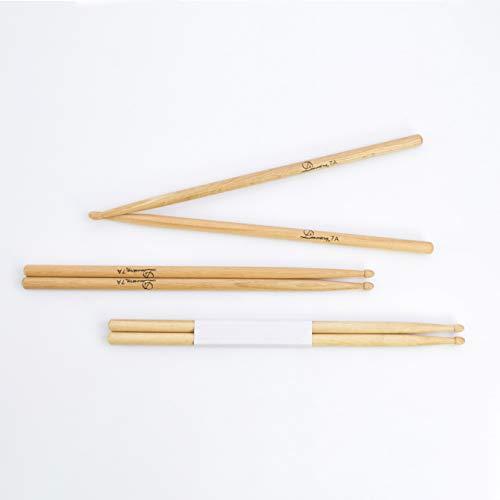 Eiche Dünn (showking 3 Paar Drumsticks Oak Perch Skin Set aus Eiche, 7A, Natur - Drumstick Set mit 6 Eichen Stöcke / 3er Paar dünne 7 A Eiche Schlagzeugsticks - klangbeisser)
