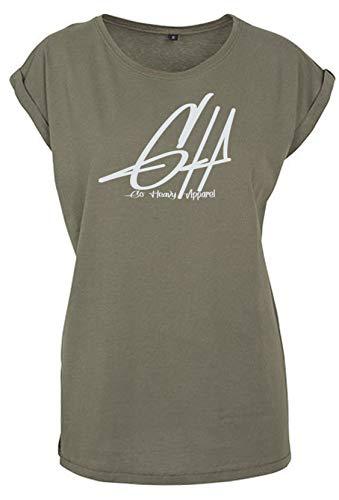 GO HEAVY Oversize Damen Fitness Trainings T-Shirt | Kurzarm Yoga Gym Sportshirt | Logo Aufdruck Graphic | Oliv M