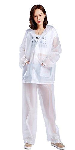 AiYoYo Regenanzug Eva Regenhose und Regenmantel Hooded Regenponcho Wasserdicht Regencape Wiederverwendbar Winddicht Kapuzenjacke Suit mit 2 Taschen für Damen Herren Erwachsene(Weiß L)