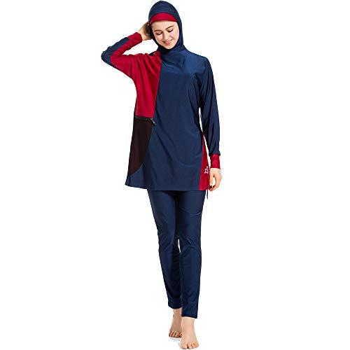 Schwimmen, Bekleidung (Mr Lin123 Moslemische Badebekleidung Islamischer Badeanzug für Frauen Hijab Bademode Volle Abdeckung Badebekleidung Muslimische Schwimmen Beachwear Badeanzug Burkini (L, Blau))