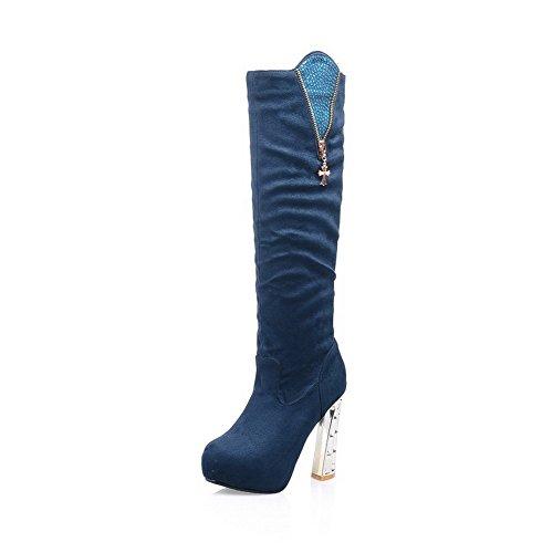 VogueZone009 Damen Hoch-Spitze Ziehen Auf Rund Zehe Hoher Absatz Stiefel mit Beschlagene Strass Blau