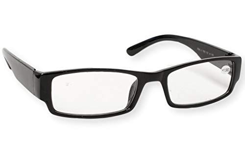Lesebrille schwarz rechteckig viereckig eckig breite Bügel leicht Lesehilfe Sehhilfe 1.0 1.5 2.0 2.5 3.0 Modell 760, Dioptrien:Dioptrien 2.0