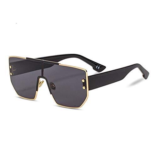 Taiyangcheng Polarisierte Sonnenbrille Weinlese-übergroße Sonnenbrille-Frauen-Retro- Niet-Flacher Spitzenrahmen-Steigungs-Sonnenbrille-Mann-Brillen-weibliches Objektiv,A5