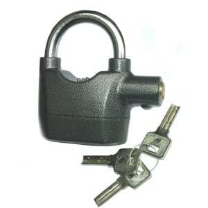 Padlock Security Alarm with 110 Db Siren Auto Stop & Reset Heavy Duty Durable Steel 9mm Lock Bar Ideal for Garden Sheds, Garages, Gates, Carvans, Bicycles, Motor Bikes