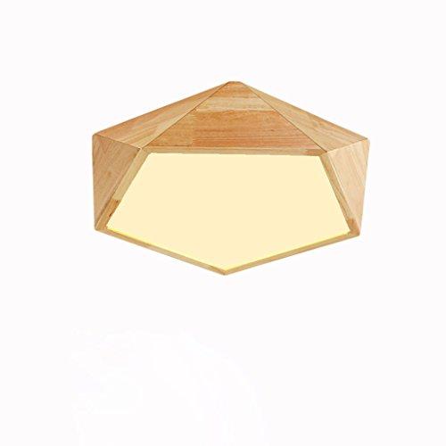 Einfache Holz Decke Lampe Schlafzimmer Esszimmer Lampe Wohnzimmer Beleuchtung Holz Japanischen amerikanischen Stil Nordic Stil Holz führte Deckenleuchte 42 * 13cm ( Color : Warm light ) (Decke Holz)