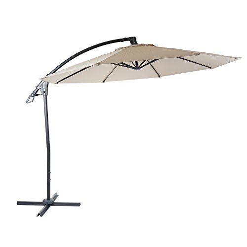 Mendler Deluxe Ampelschirm HWC-D14, Sonnenschirm, rund Ø 3m Polyester Alu/Stahl 14kg ~ Creme-weiß ohne Ständer