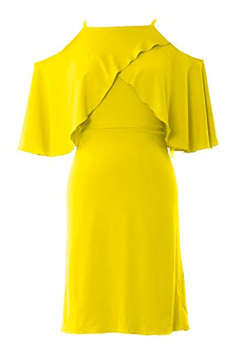 MACloth Women Off Shoulder Short Wedding Bridesmaid Dress Cocktail Party Gown yellow