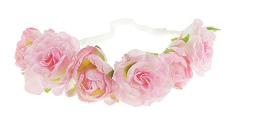 Mesdames rose grande taille/festival/style bohème mariée bandeaux frontal élastique Fleur Rose
