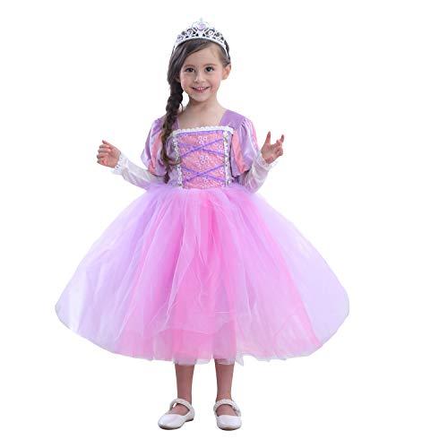 zhenlanshangmao Erster Karneval Neue Kostüm Prinzessin Sofia Kleid Charakter Spielen Geburtstag Prom Halloween-Weihnachtskleid (110(3-4T), Lila)