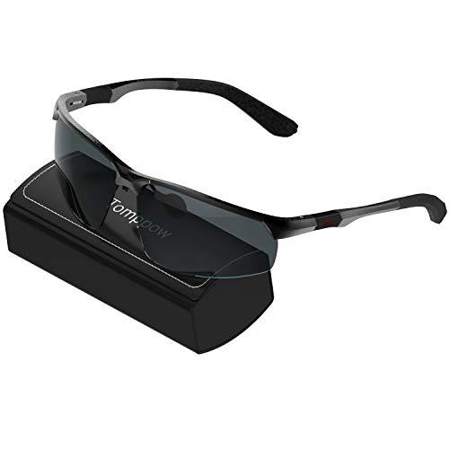 Tomppow Herren Sonenbrille Sportbrille Polarisierte Fahren Sonnenbrille Al-Mg Metall Rahme (Schwarz)