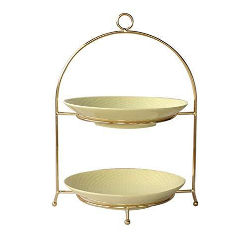 YWAWJ 2 Tier Serviertablett Runde Platte for Cupcakes Obst Dessert oder Tee Cake Pop Stand und Buffet Server (Color : Yellow) -