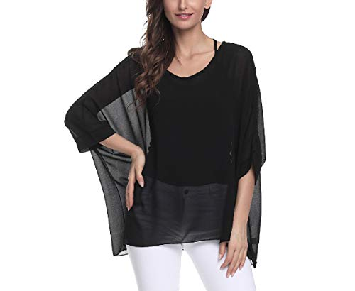 CuteRose Womens Anti-Sun Chiffon Cover-ups Scoop Neck Baggy Blouse Tops Black OS Sleeve Scoop Neck Bow