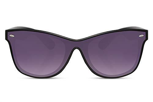 Cheapass Sonnenbrille Schwarz Klassisch Durchgehendes Glas UV-400 Plastik Damen Herren