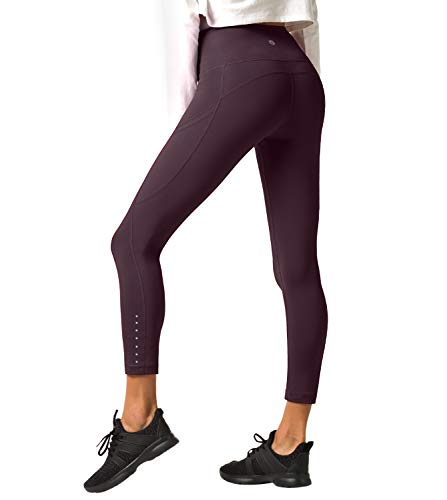LAPASA Damen Sport Leggings - TUMMY CONTROL - High Waist Lang Yoga Sporthosen Tights für Gym Fitness L01 (Weinrot (Super Opak mit seitlichen Taschen), S (Taille 60-70 cm, Schrittlänge 59.5 cm))