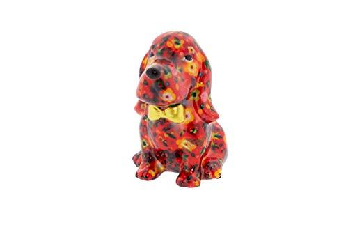 Pomme Pidou Spardose Basset Hound George   Original e Keramische Hund Spardose   Rot mit Flamingos Gratis Geschenkbox   Liebevoll Handgemacht