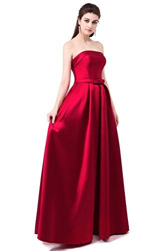 nymph Damen Trägerlosen Satin A-Linie Formale Abendkleid Rot 50