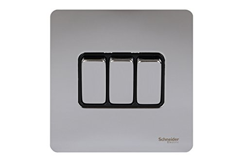Schneider Electric Ultimate Screwless Flat Plate 16AX Triple 2-Way Switch Polished Chrome Black Insert by Schneider Electric Schneider Electric Switch