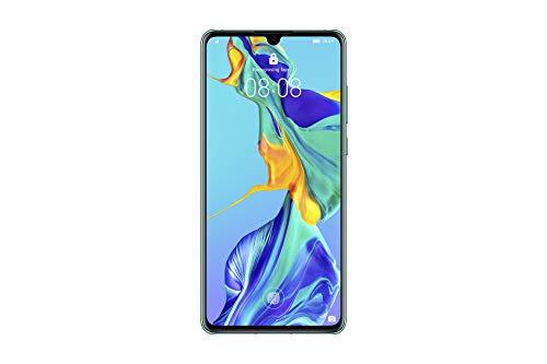 """Huawei P30 (Aurora) mais capa transparente, 6GB RAM, 128 GB de memória, 6.1 Display """"FHD +, câmera traseira tripla de 40 + 16 + 8 Mpx, câmera frontal 32 Mpx"""