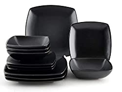 "Creative Tops 12-Piece Ceramic ""Raven"" Dinner Set, Black"