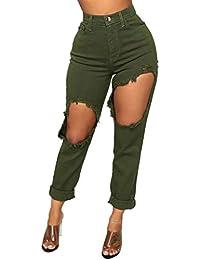 OYSOHE Jeans Damen Mode Hohe Taille Sexy Aushöhlen Zerreißend Hosen Reißverschluss Stretch Slim Bleistift Hosen