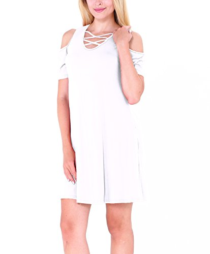 CoCo Fashion Damenhemdkleid mit Taschen Modischen Cut-Outs Baumwollkleid Lose Minikleid Weiß
