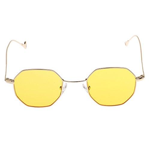 Homyl Steampunk Retro Runde Sonnenbrille Brille Gläser UV400 Herren Damen - Gelb (Steampunk Metall-brille)