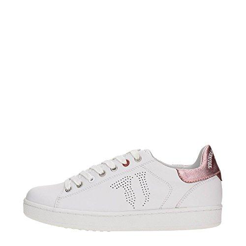 Trussardi Jeans 79S018XX Sneakers Donna Pelle Bianco Bianco 40