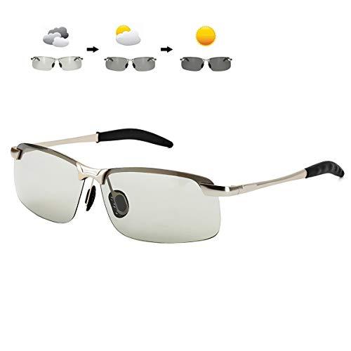 ARLTTH Photochromatisch Sonnenbrille Herren Polarisierte Selbsttönend Brille Rechteckiger Ultraleichter Metall Rahmen 100% UV400 Schutz (Silber Rahmen/Photochromatisch Linse)