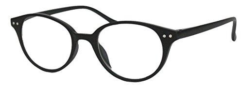 Klassische filigrane Retro Lesebrille Damen Herren Hornbrille im Vintage Stil OVR (44 matt schwarz 3.0 (3 Runde Kostüme)