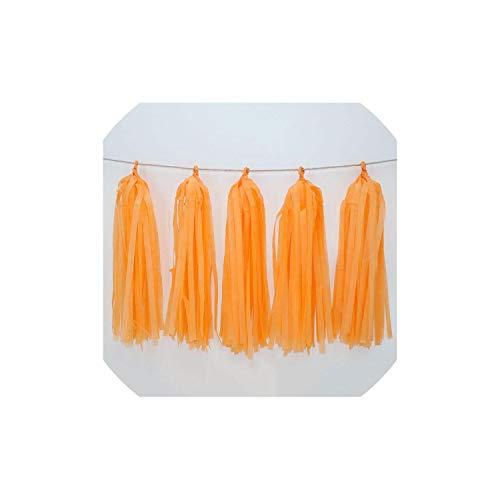Archiba Hochzeit Dekoration Farbe Papier Quaste Garland Braut, zum Geburtstag Dekor-Baby-Party Supplies Dusche, Light Orange (Und Schwarze Geburtstags-dekorationen Rosa Heiße)