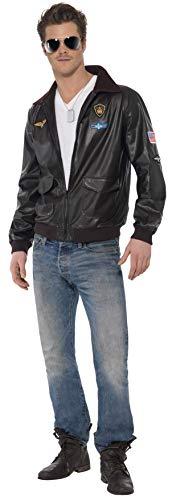 Original Lizenz Top Gun Bomberjacke Kostüm mit Motiven für Herren Herrenkostüm Pilot Pilotenjacke Herrenjacke  Gr. 48/50 (M), 52/54 (L), Größe:L