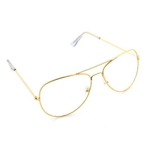 HENGSONG Klassische Brille Metallgestell Brillenfassung Vintage Pilot Brille Dekobrillen (Gold)