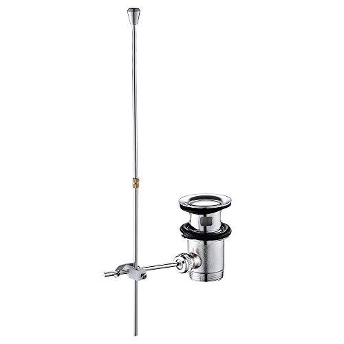 BOTTLEWISE Ablaufgarnitur mit Zugstange Überlauf Ablauf Waschbecken Ablaufventil Chrom Exzenter Überlaufgarnitur Waschbeckenstöpsel Stöpsel Zugstangengarnitur für Waschbecken