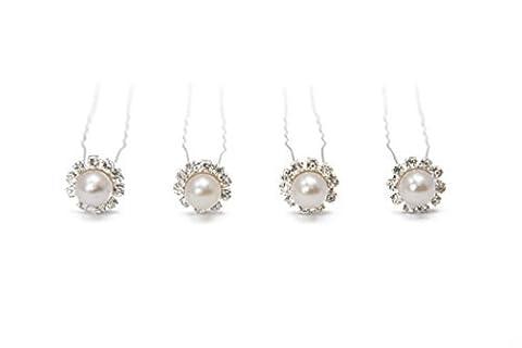 HAR1011 Hair Pins - 10 Pearl and Swarovski Crystal -