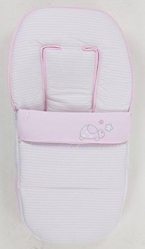 Saco para silla de bebe universal. Bordado TURTLE ROSA. Válido como Saco, Colchoneta y Cubrepies.