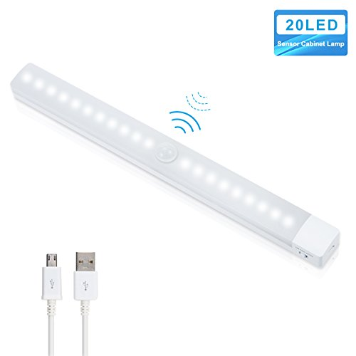 LOHAS Motion Sensor Kabinett Licht, USB wiederaufladbar, 20 LED Wardrode Licht mit PIR Bewegungsmelder,Entfernbarer, Stock-auf irgendwo, Ideal für Schrank, Treppe, Flur, Waschraum, 3 Licht-Modus, Kaltweiß,1er-Pack Motion-sensing-licht-schalter