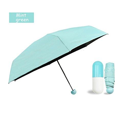 r Regenschirm mit niedlichem Kapsel Fall–UV-Schutz LSF 50+ Sunproof leicht Kompakte Reise Schirme (Coral Pulver), mintgrün (Halloween Hawaii 2017)