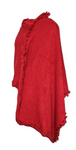 Dirndltuch Strick Stola mit Fellbesatz Dunkelrot - Kuscheliger Schal zu Dirndl, Trachten und Abendkleidern