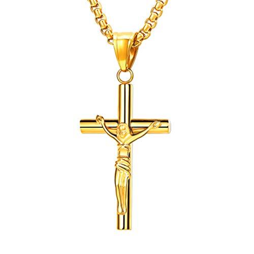 FaithHeart Halskette mit KreuzAnhänger Kruzifix, Edelstahl 18K Gold Kreuz Kette für Herren und Damen