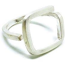MUNOTA - Anillo de plata de diseño, formas geométricas cuadrado. Sorprende con este anillo