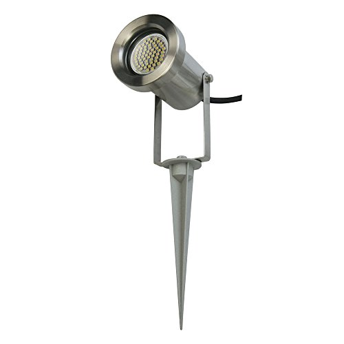 LED Erdspießleuchte / Außenleuchte / Edelstahl / Gartenstrahler / Bodenleuchte / RUND-135919/ GU10-230V (Warmweiß)